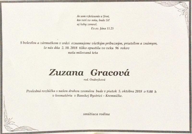 Parte - rozlúčka so Zuzanou Gracovou