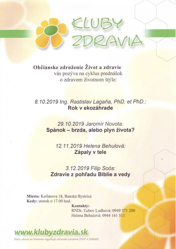 Program klubu zdravia 2019